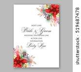 poinsettia wedding invitation... | Shutterstock .eps vector #519687478