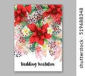 poinsettia wedding invitation... | Shutterstock .eps vector #519688348
