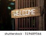 rustic wood welcome sign... | Shutterstock . vector #519689566