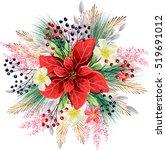 poinsettia wedding invitation... | Shutterstock .eps vector #519691012
