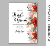 poinsettia wedding invitation... | Shutterstock .eps vector #519691102