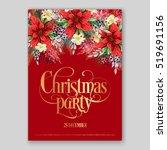 poinsettia christmas party... | Shutterstock .eps vector #519691156