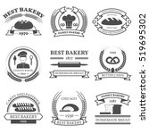 bakery black white emblems set... | Shutterstock . vector #519695302
