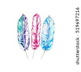cute feathers | Shutterstock . vector #519697216