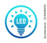 Led Light Bulb Icon With Blue...