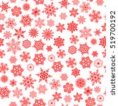 red snowflakes seamless pattern ... | Shutterstock .eps vector #519700192