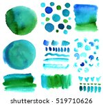 a vector set of teal blue and... | Shutterstock .eps vector #519710626
