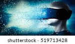 into virtual reality world. man ... | Shutterstock . vector #519713428