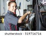a mechanic woman working on car ... | Shutterstock . vector #519716716