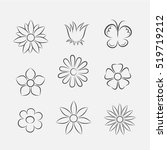 flower icons for pattern with... | Shutterstock .eps vector #519719212
