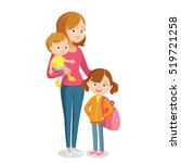 mother with kids | Shutterstock .eps vector #519721258