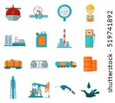 oil industry set icons in... | Shutterstock .eps vector #519741892