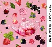 vector fruit tea seamless... | Shutterstock .eps vector #519742852
