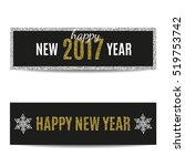happy new year 2017 banners set.... | Shutterstock .eps vector #519753742