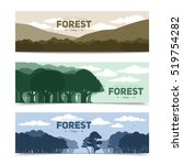 tree forest banners set with... | Shutterstock . vector #519754282