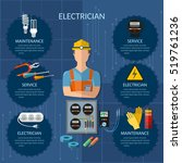 professional electrician... | Shutterstock .eps vector #519761236