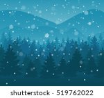 Winter Night Forest. Falling...