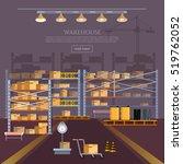 warehouse interior box on rack...   Shutterstock .eps vector #519762052