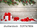 Christmas Wood Background With...