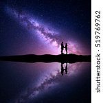 Milky Way With Silhouette Of...