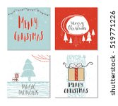 set of 4 cute gift cards and... | Shutterstock .eps vector #519771226