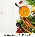 vegetable cream soup on white... | Shutterstock . vector #519796072