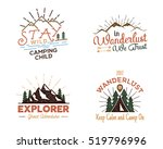 Set of outdoors activity badges. Hiking custom quotes and phrases, labels. Typography and roughen style. Vector emblems with letterpress effect. Inspirational texts isolated on white background | Shutterstock vector #519796996