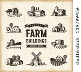 vintage farm buildings set....