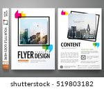 Minimal flyers report business magazine. Brochure design template vector. Square frame in cover book portfolio presentation poster. City concept in A4 layout. | Shutterstock vector #519803182