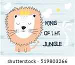 cute lion cartoon on footprint... | Shutterstock .eps vector #519803266