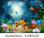 the underwater world of fish... | Shutterstock .eps vector #51982120