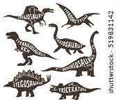 Dinosaurs Black Silhouettes Se...