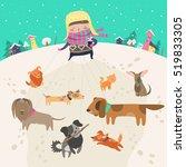 Stock vector girl dog walker taking pack of dogs for a walk 519833305
