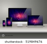 realistic computer monitor ... | Shutterstock .eps vector #519849676