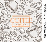 organic coffee shop leaf  bean... | Shutterstock .eps vector #519850906