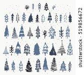 set of hand drawn christmas... | Shutterstock .eps vector #519856672