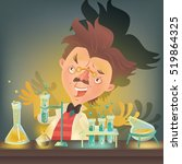 bushy haired mad professor in... | Shutterstock .eps vector #519864325