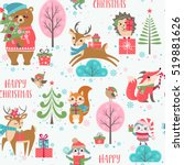 christmas pattern with cute... | Shutterstock .eps vector #519881626