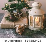 White Christmas Lantern With...