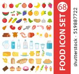 big set icons food  flat style. ... | Shutterstock .eps vector #519887722
