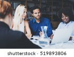 young team of coworkers making... | Shutterstock . vector #519893806