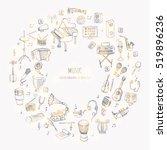 hand drawn doodle music set... | Shutterstock .eps vector #519896236