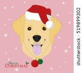 christmas greeting card. golden ... | Shutterstock .eps vector #519899302