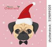 christmas greeting card. pug... | Shutterstock .eps vector #519899305