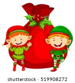 christmas theme with two elves... | Shutterstock .eps vector #519908272