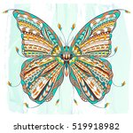 patterned butterfly on the... | Shutterstock .eps vector #519918982