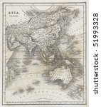 antique map of asia dated 1827 | Shutterstock . vector #51993328