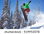 snowboarder jumps in forest.... | Shutterstock . vector #519952078