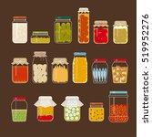various pickle bottles vector... | Shutterstock .eps vector #519952276
