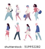 street walking people vector... | Shutterstock .eps vector #519952282